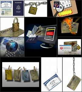 identity theft image collage